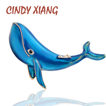 CINDY XIANG Blue Color Whale Brooches for Women Fashion Sea Animal Pins Kids Jewelry Enamel High Quality New 2019