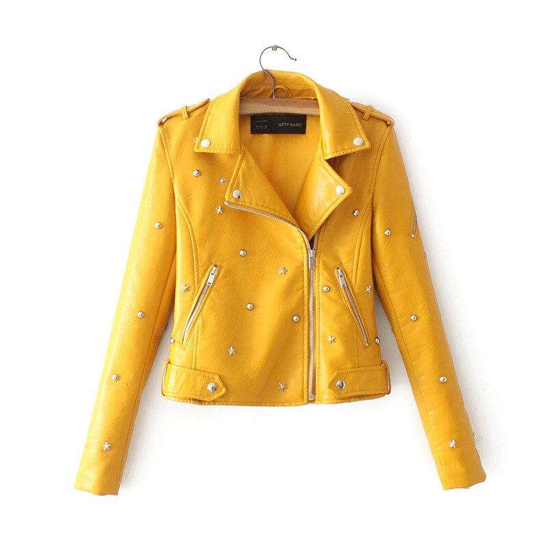 2018 Autumn Women Pu   Leather   Motorcycle Jackets Plus Size Rivet Turn-down Collar Short Design Biker Jacket Z335