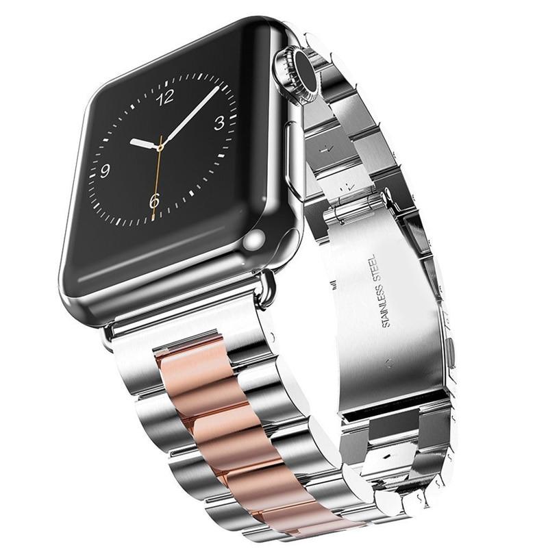 Luxury Stainless Steel bracelet For Apple Watch band strap 42mm/38mm iWatch 3 2 1 Metal belt watchband Elasticity Fold buckle metal buckle belt 3 pcs