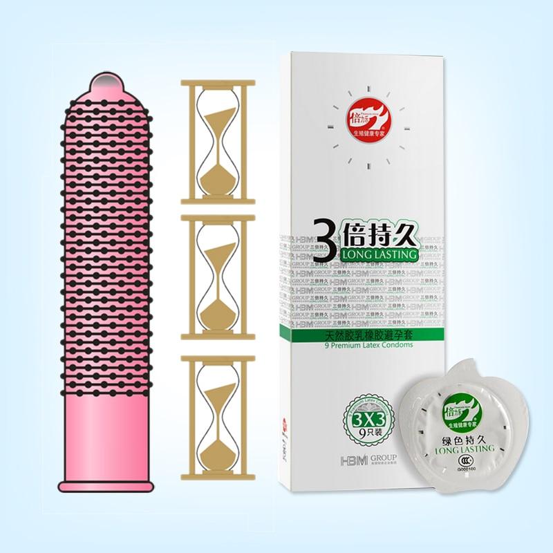 Triple long lasting Condom Delay Ejaculation 9 pcs Condoms Adult Sex Toys Sex Product for men Female Pink suit Large particles(China)