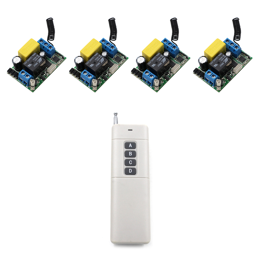 High Power 1000M 4 Pieces 220V RF Wireless Remote Control Switch System Remote Control Switch and Receiver 315/433MHz rf wireless remote control light switch 220v power switch system 12 receiver