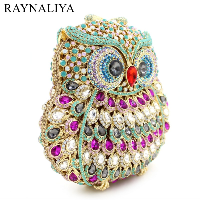 GIFT BOX Owl Diamond Evening Women Clutch Bag Party Crystals Clutches Wedding Purses Ladies Hollow Out Handbags SMYZH-F0225