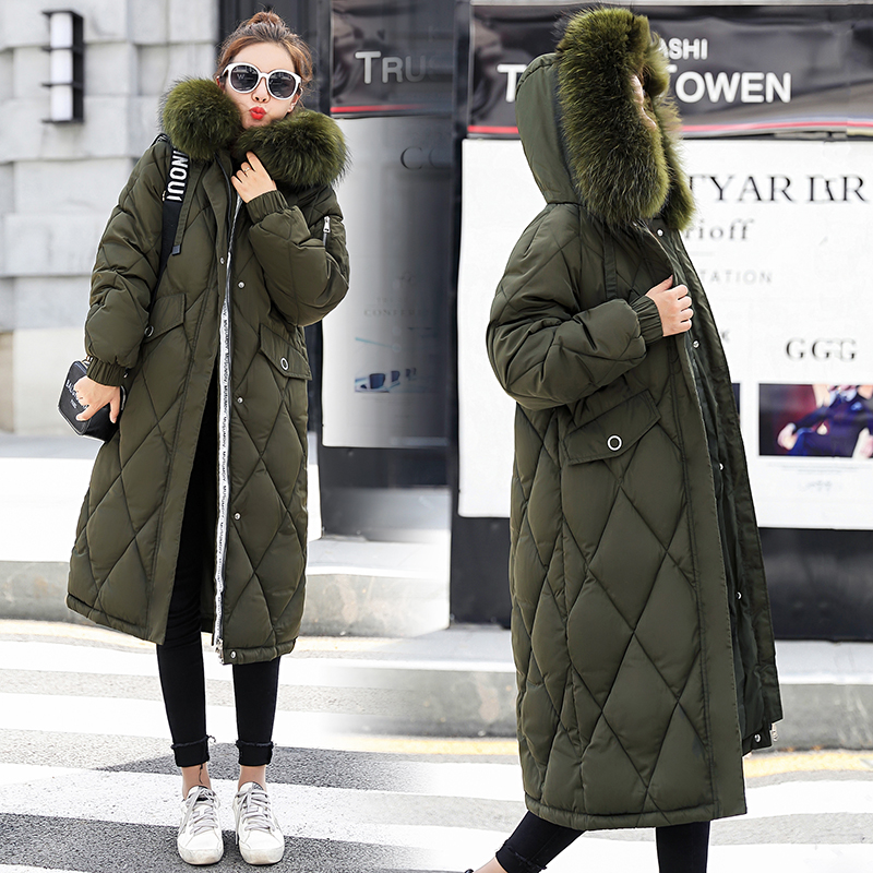 Fur Collar Autumn Winter Coat Women Thick Long Parka Female Plus Size Loose Winter Cotton Down Jacket Outwear casaco feminina
