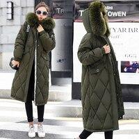 Fur Collar Autumn Winter Coat Women Thick Long Parka Female Plus Size Loose Winter Cotton Down Jacket Outwear casaco feminina
