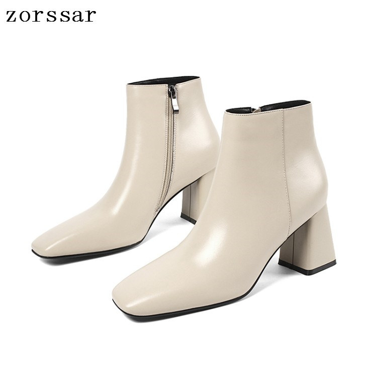 {Zorssar} Square Toe Heels Women Ankle Boots Soft Leather Thick High Heel Boots Autumn Winter Female booties plus size 33- 43 купить в Москве 2019