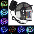 5m 3528 Waterproof LED Strip lights RGB tape set 12V 300 LEDs with Remote Control and 12V power adapter tiras led for christmas