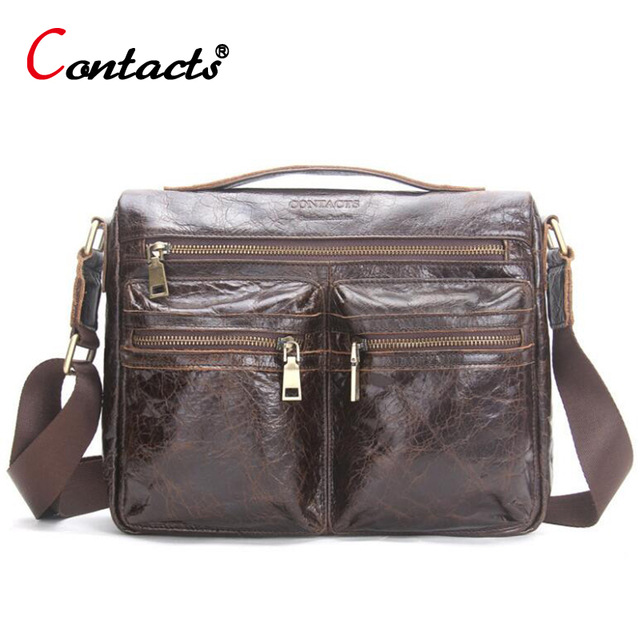 все цены на CONTACT'S Men messenger bag leather Handbag Cowhide Men Crossbody Bag male Shoulder Business Laptop Briefcase Travel Bag for Man