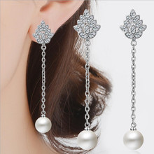 Everoyal Luxury Crystal Pearl Jewelry Earrings For Women Bijou Top Quality 925 Sterling Silver Girls Party Accessories