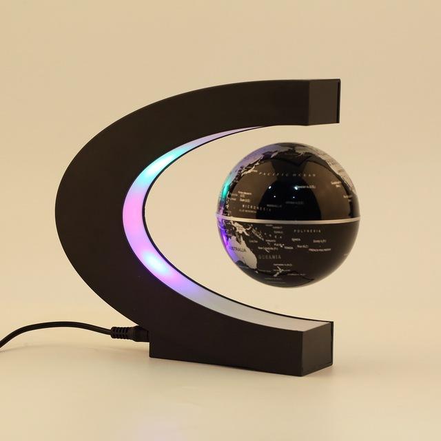 Decoração Da casa LEVOU Flutuante Tellurion Forma C Levitação Magnética Flutuante Globo Mapa Do Mundo Com Luz LED de Santa Decor Presente