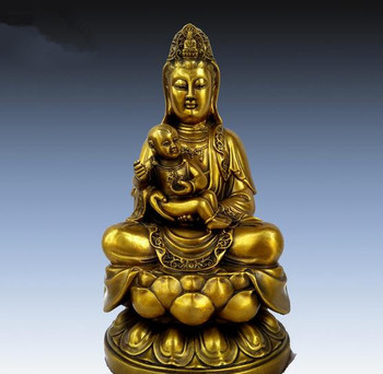 Collection fine workmanship brass hug child Guanyin bodhisattva statue