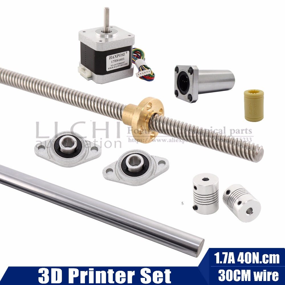 T8 Lead screw 8mm with screw nut KFL08 Mounted Ball Bearing Bracket Shaft Coupling aix linear shaft Stepper motor nema17 t8 600mm stainless steel lead screw set with mounted ball bearing and shaft coupling