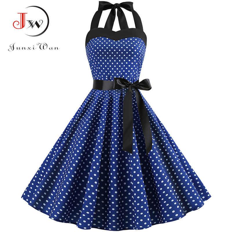 빈티지 드레스 여성 2020 여름 섹시 폴카 도트 인쇄 홀터 파티 드레스 Vestidos 플러스 사이즈 로브 핀 로커 빌리 드레스