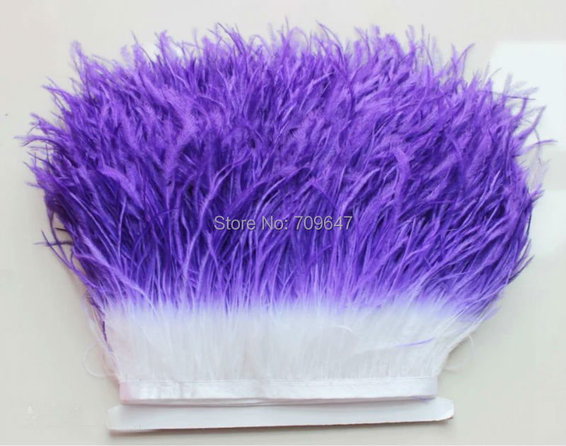 10meters/lot!5-6inches 12-15cm wide TWO TONE OSTRICH Fringe,Dark Purple+White colour ,Ombre Dyed Ostrich Fringe