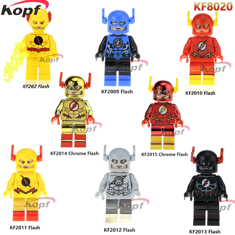цены Single Sale Super Heroes Yellow Black Red Chrome Flash Justice League Bricks Building Blocks Christmas Toys for children KF8020