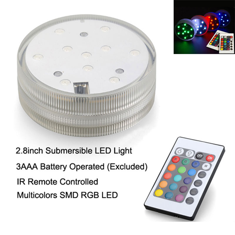 1pc Multi colors Submersible led vase light base for wedding party decoration with 24 keys Remote control Lamps