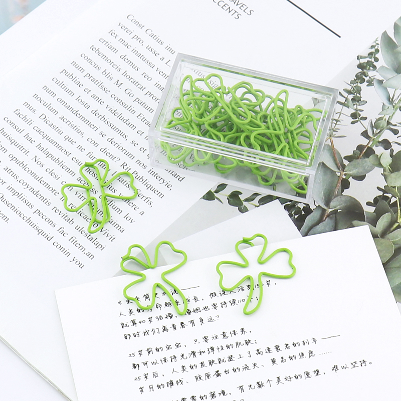 15pcs/box Plastic Coated Clover Shape Paper Clips Green Funny Kawaii Bookmark Office Shool Stationery Marking Clip