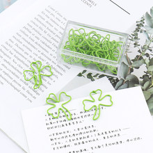 15pcs/box Plastic Coated Clover Shape Paper Clips Green Funny Kawaii Bookmark Office Shool Stationery Marking Clip(China)