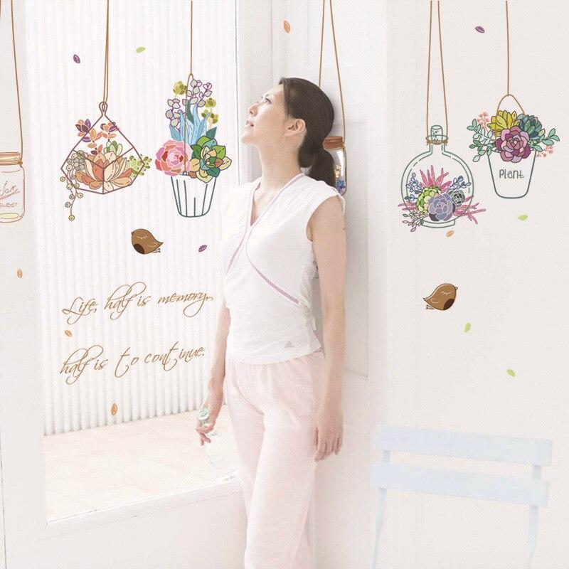 Завод сада цветочный горшок DIY Наклейки на стену на стены дома 3D эффект Кухня Ванная комната окна Стекло фрески Домашний Декор
