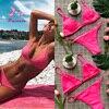 Pacento Brazilian Bikini Thong Swimwear Women 2018 Sexy Push Up Pink Bikini Set Solid Strapless Padded