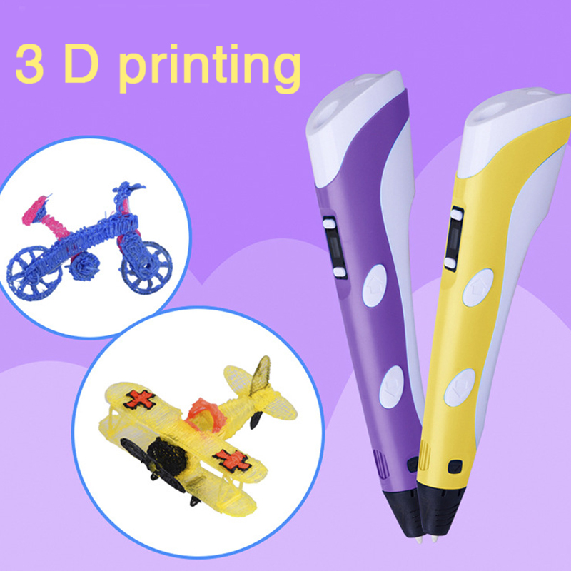 ФОТО DIY 1.75mm ABS/PLA Smart 3 D Printer Printing pen 3M Filament +Power Adapter Graffiti 3D Pen Creative Gift Toys For Kids Drawing