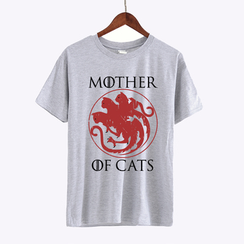 Game of Thrones Creative Leisure Mother of Cats Printed Black T shirt Hillbilly New Fashion Women's Casual Clothing Cotton Tops