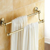 Bathroom Accessory Luxury Gold Color Polished Brass Wall Mounted Bathroom Copper Dual Towel Bar Aba102