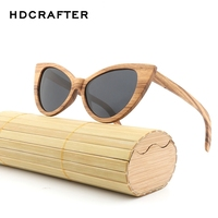 HDCRAFTER Cat Eye Sunglasses Wood Polarized Sun Glasses Vintage Wooden Sunglass for Women