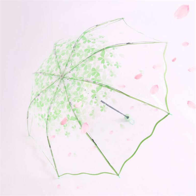 Cherry blossoms petal princess rain umbrella transparent three folding umbrella for girl YS006