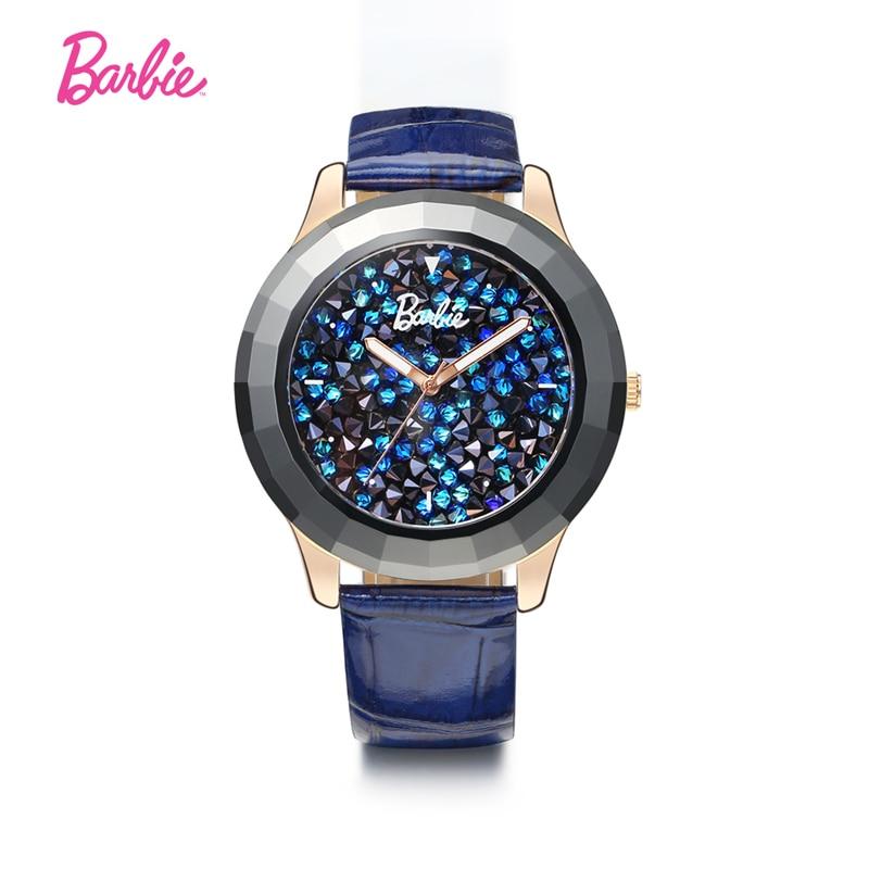 Barbie véritable Bracelet En Cuir femme montre-bracelet De Luxe Marque Montres Femmes quartz pour mode décontractée montre Classique strass montre