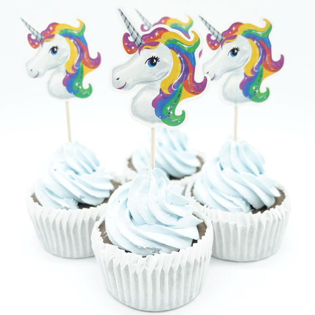 24pcs unicorn cupcake toppers picks for happy birthday party decorations christmas decorations for home cake toppers - Unicorn Christmas Decorations