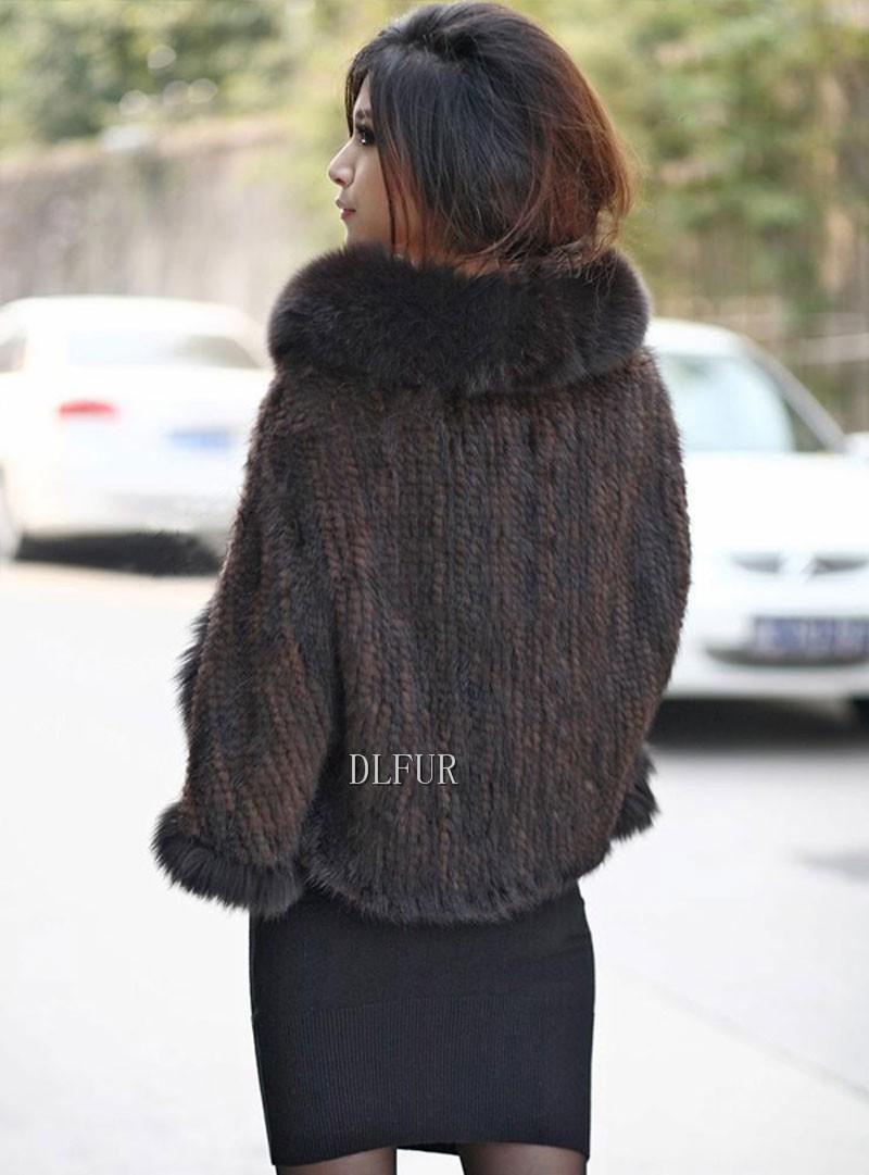 Hot Sale Genuine Mink Fur Shawl With Fox Fur Trim Women Natural Mink Fur Poncho Winter Knitted Mink Fur Jackets DL6235 (15)