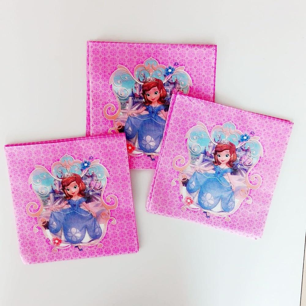 20pcs/lot Sofia Princess Party Supplies Paper Napkin Cartoon Theme Party For Kids Birthday Decoration Theme Party Supplies Pink