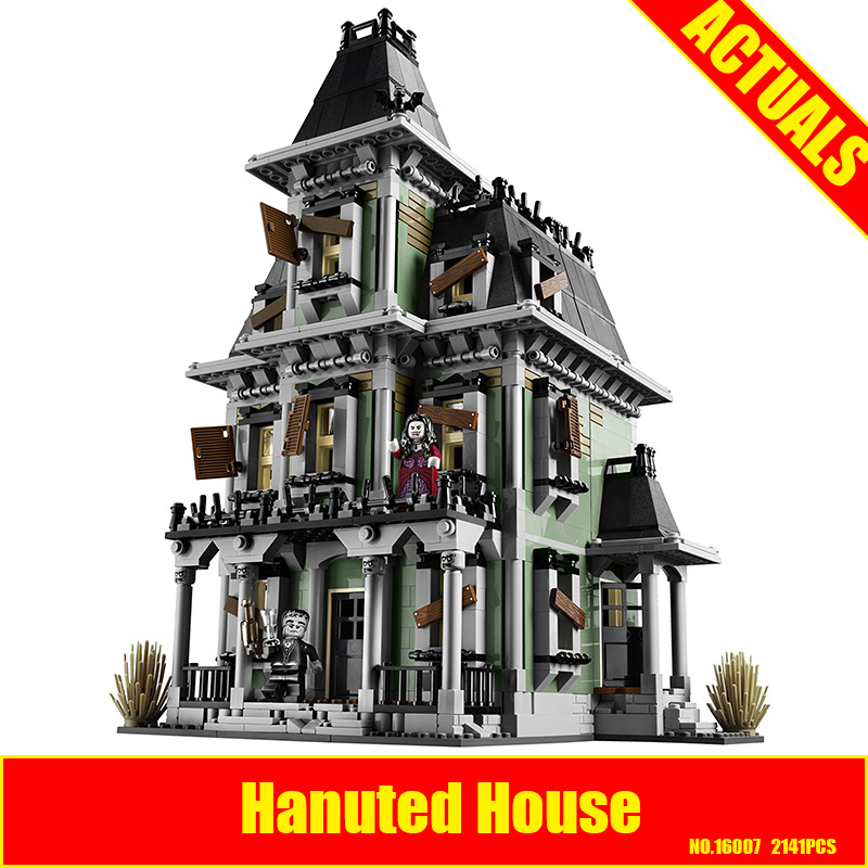 New LEPIN 16007 2141Pcs Monster fighter The haunted house Model set Building for Kit DIY Educational Gift Compatible With 10228 hf movie figures 2141pcs monster fighter haunted house model building kits blocks bricks toys for children compatible with 10228