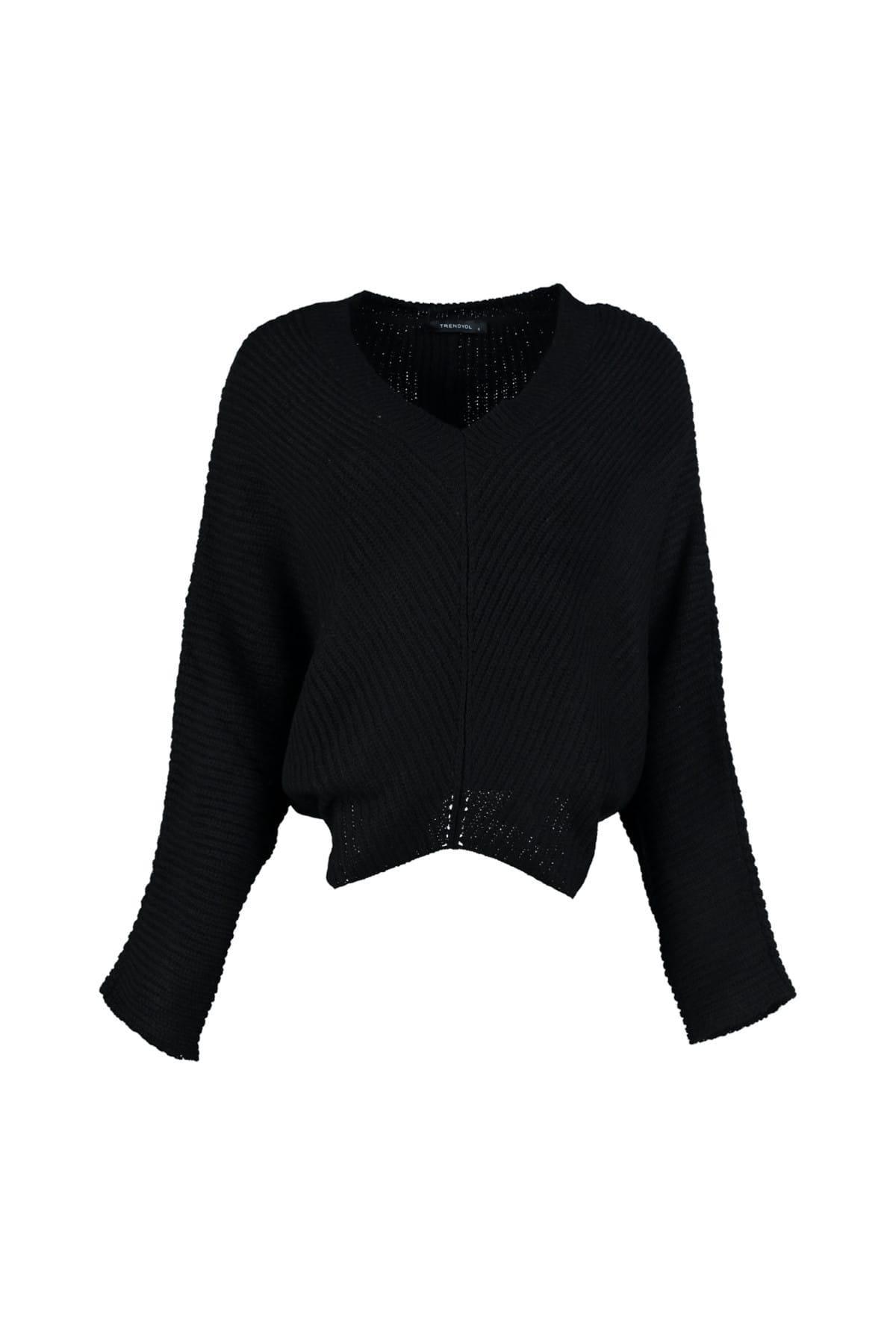 Trendyol WOMEN-Black Bat Sleeve Sweater Sweater TWOAW20ZA0012