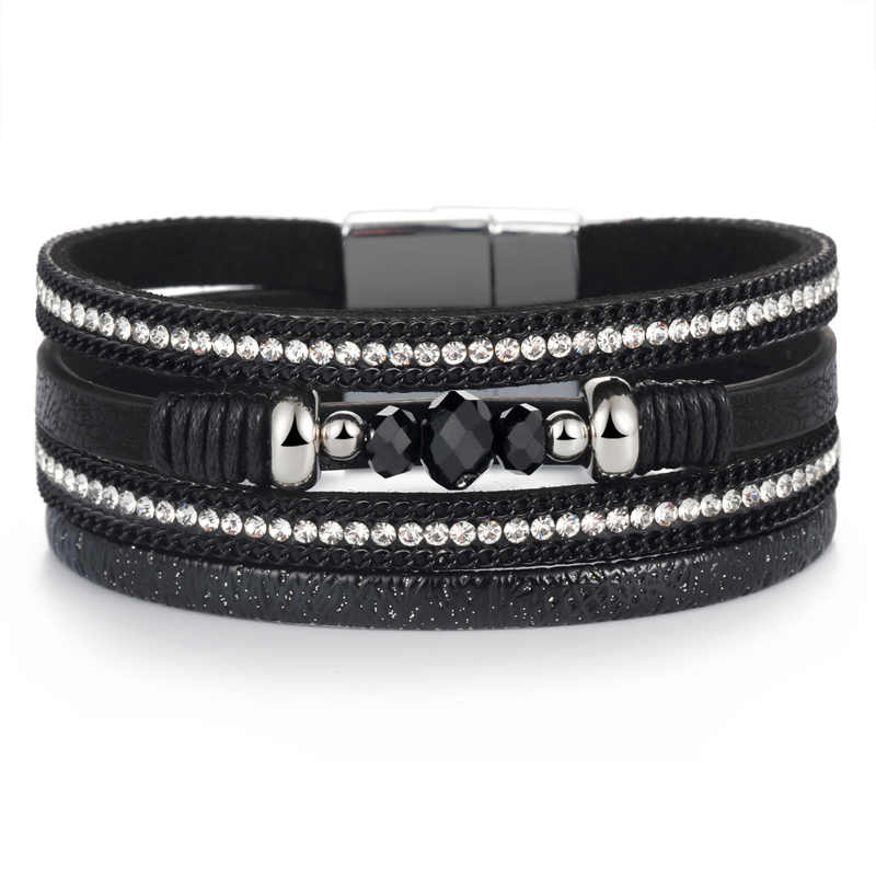 ZOSHI New Vintage Beads Leather Bracelets & Bangles For Women 2019 Handmade Multiple Layer Wristband Bracelet Jewelry Gifts