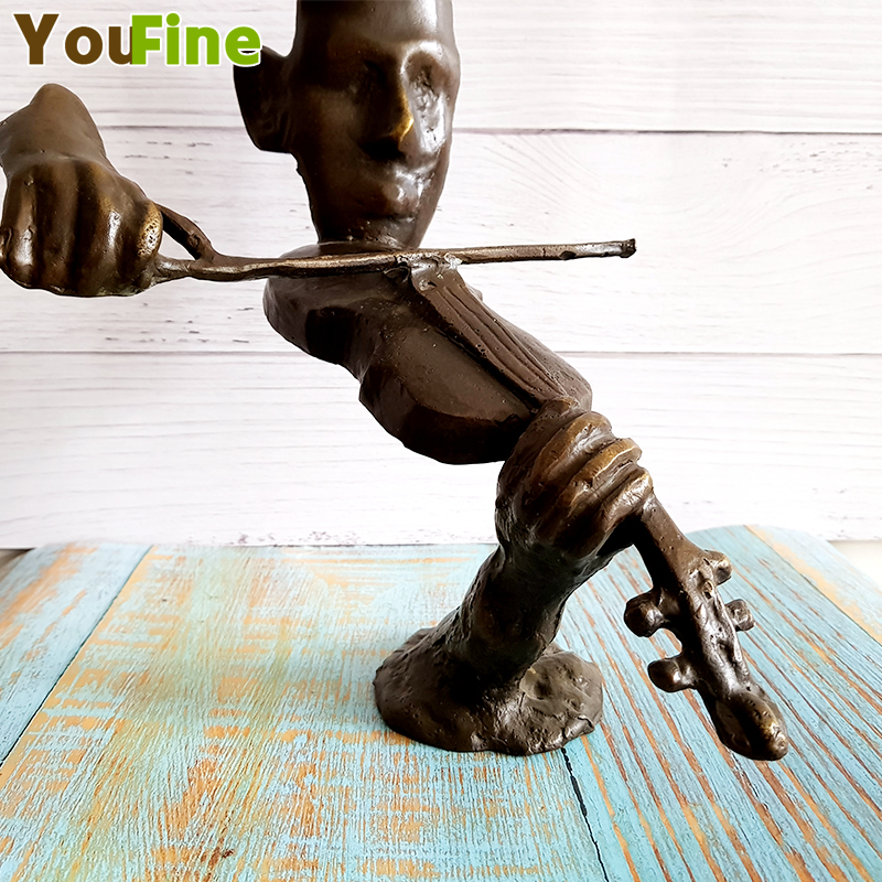 Bronze Musician Abstract Decorative Art Sculpture Western Face Statue Violin Musician Can Support Customization