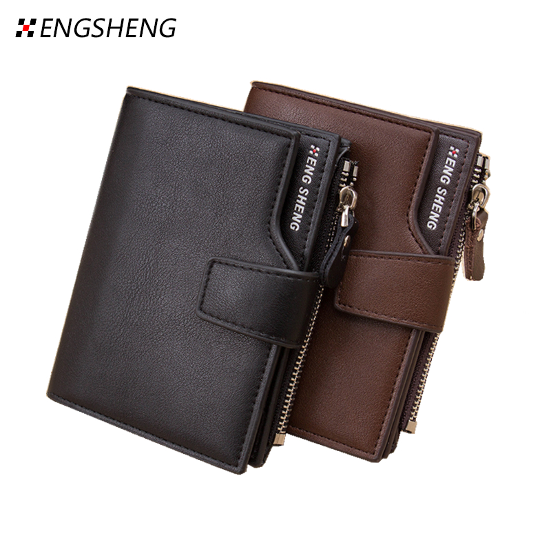 Trifold black brown zipper hasp famous brand men short leather wallets purses carteira masculina couro portefeuille homme 40 oem 2015 carteira masculina couro qb1287