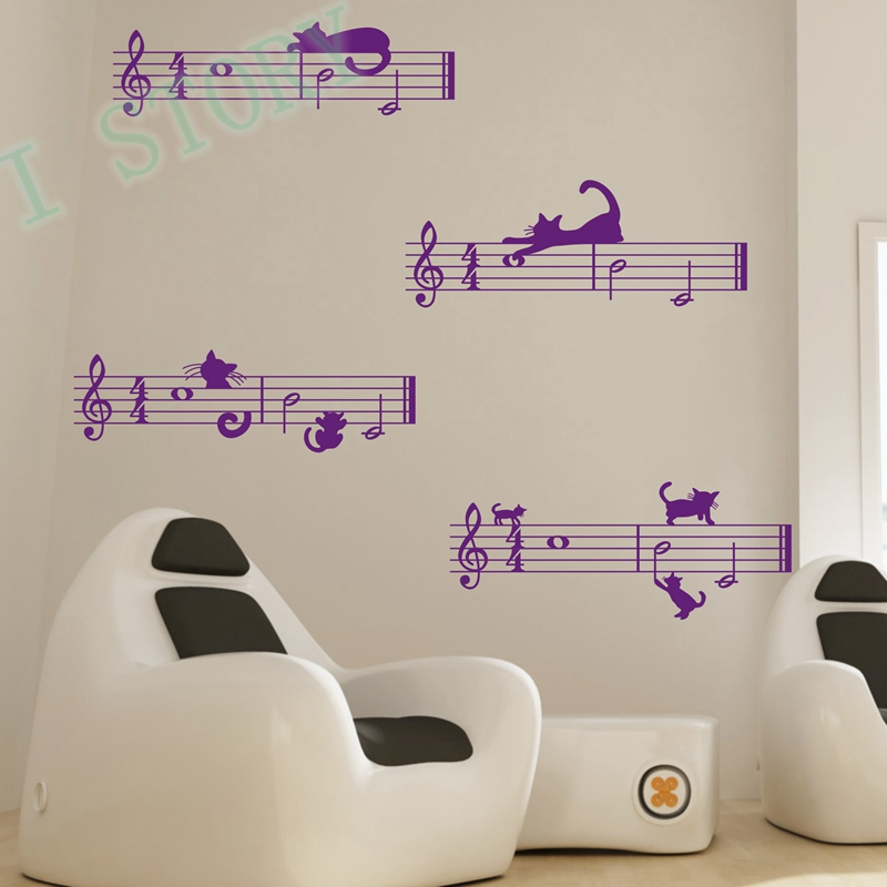 Large Size Free Shipping Cute Cartoon Cat And Staff Note Combination Musical Wall Stickers Music Bedroom Decor In From Home Garden On
