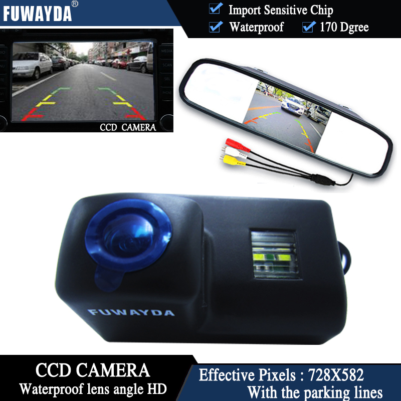 FUWAYDA CCD Chip Car Rear View Camera for Peugeot 206 207 306 307 308 406 407 5008 PartnerTepee+4.3 Inch rearview Mirror Monitor