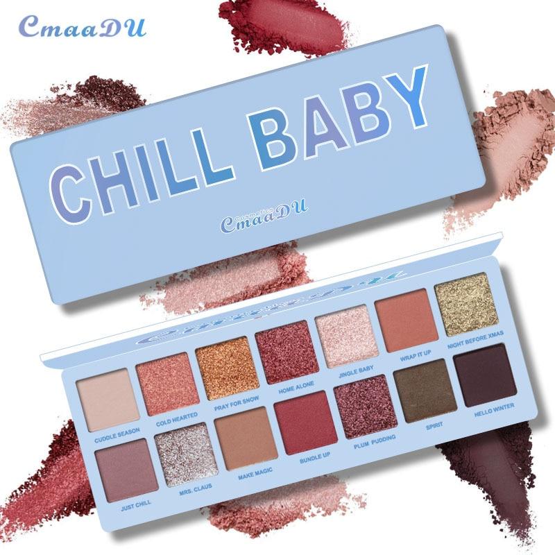 Cmaadu 14 Colors Matte Shimmer Diamond Eyeshadow Palette Waterproof Wine Red Earth Smoky Shining Eyeshadow Powder HF070