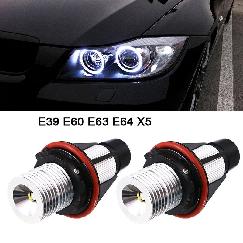 2*5 W 10 W para Bridgelux LED Chips de LED Marcador Angel Eyes Branco Vermelho Azul Cor Amarela para BMW X5 E39 E53 E60 E61 E63 E64