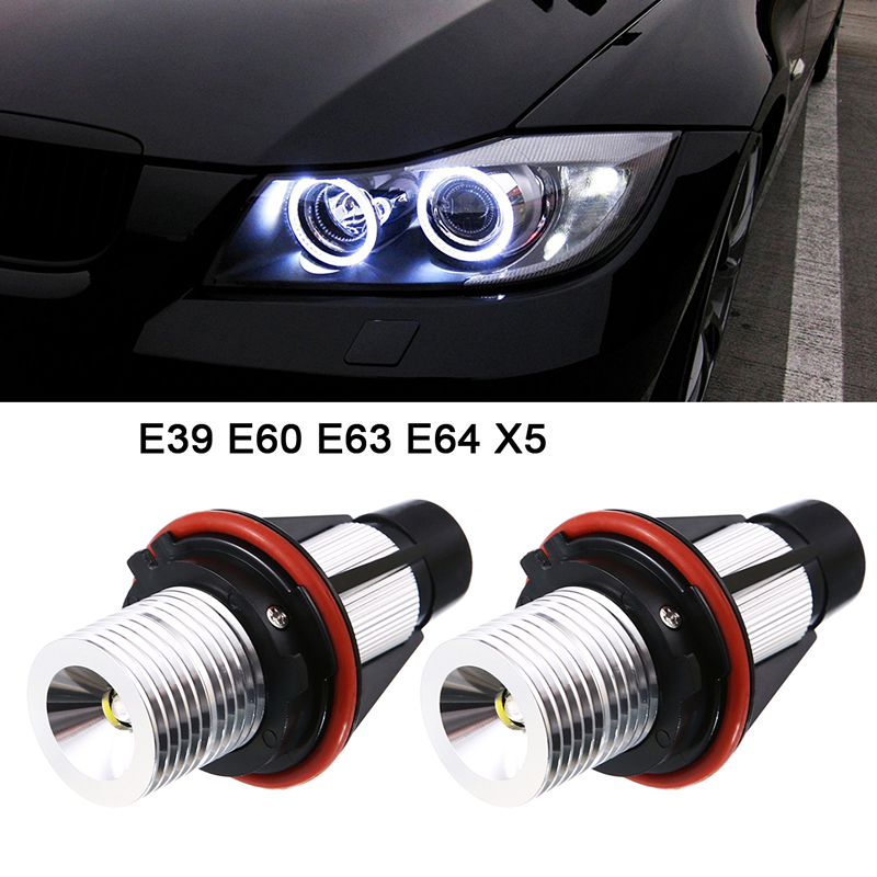 2pc 12V 5W White LED Marker Angel Eyes Bridgelux Chip for BMW E39 E53 E60 E61 E63 E64 E65 X5