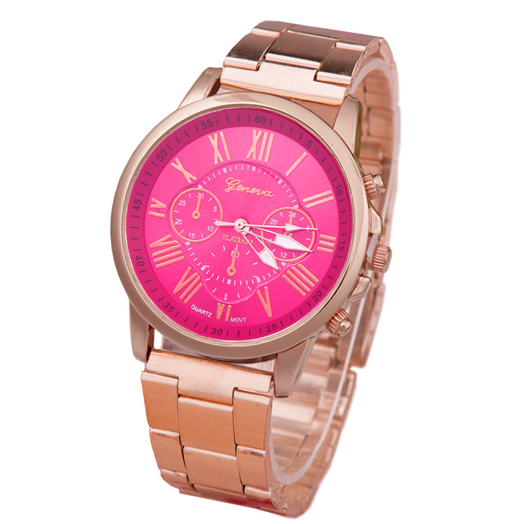 Geneva Colorful dial Womens Mens Stylish Fashion watch Roman numberals Stainless Steel Big Dial Watch Quartz lover's Watch