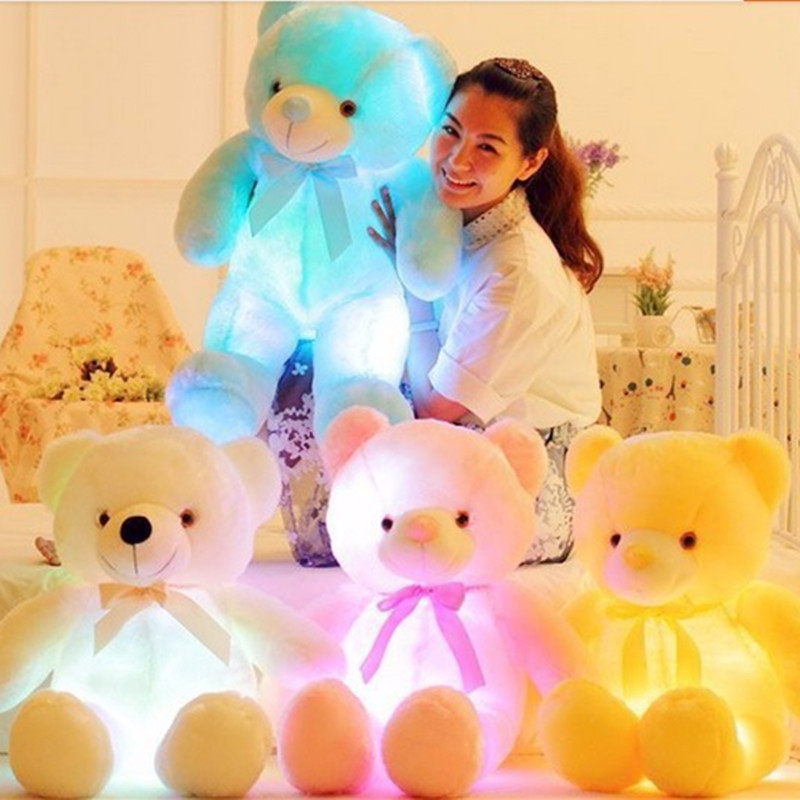 LED Giant Plush Teddy Bear Glow In Dark  Flashing Toy Colorful Glowing Stuffed Animal Doll Birthday&Christmas Gift 75CM/50CM new creative plush bear toy cute lying bow teddy bear doll gift about 50cm