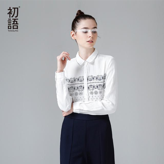 Toyouth Mulheres Preppy Estilo da Longo-Luva Blusas 100% Algodão Estampado Camisas Soltas