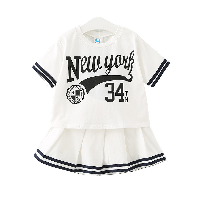 Girls T-shirt And Dresses Sets Kids 2pcs/Set Clothes Summer 2017 Letter Printed Baby Casual Sport Striped Clothes Sets