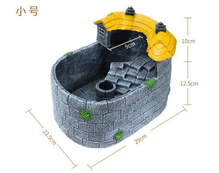 Réservoir de tortue biomimétique créatif réservoir de poissons bols de poissons aquarium mélangé avec système de drainage + filtrateur