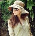 Wholesale and Retail Fashion Women Brim Floppy lace bow Summer Beach fashion accessories Sun Straw Hat Cap Free Shipping