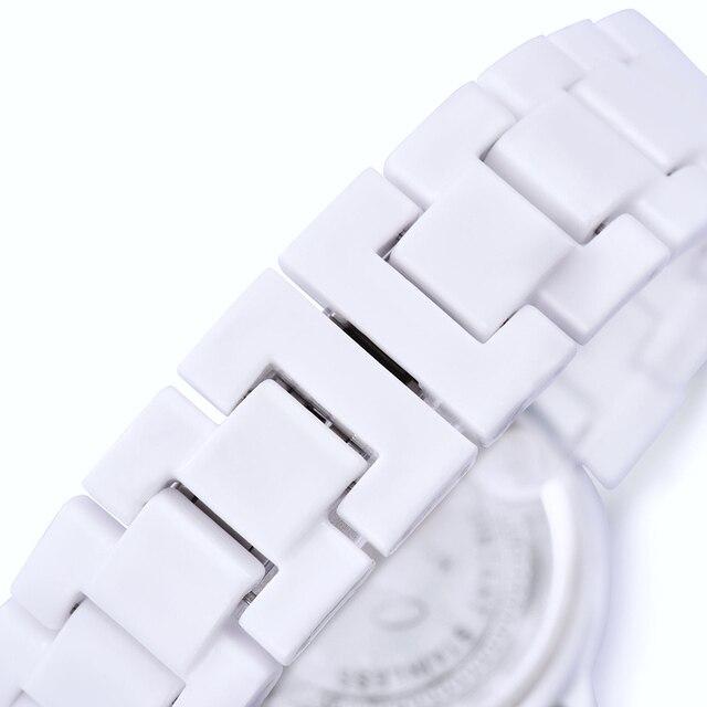 ONLYOU Ceramica Della Vigilanza di Modo Delle Donne di Lusso Cinturino Bianco Orologio Da Polso Al Quarzo Casual Braccialetto Delle Signore Vestono Orologi Amanti Orologio Unico