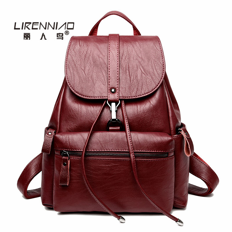 LIRENNIAO Brand Women Backpacks School Bags For Teenage Girls Black Leather Backpack Women mochila mujer 2017 sac a dos femme women backpack soft leather large capacity casual travel backpack school bags for girls student bookbag mochila mujer sac a dos